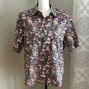 Vintage 80s Floral Print Short Sleeve Medium Shirt